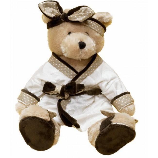 Vrolijke en schattige teddybeer genaamd Lucy - gekleed in een badjas, bruine slippers, en een hoofdband met strik. Deze beren dame houdt van alle kinderen, vooral als deze haar knuffelen.