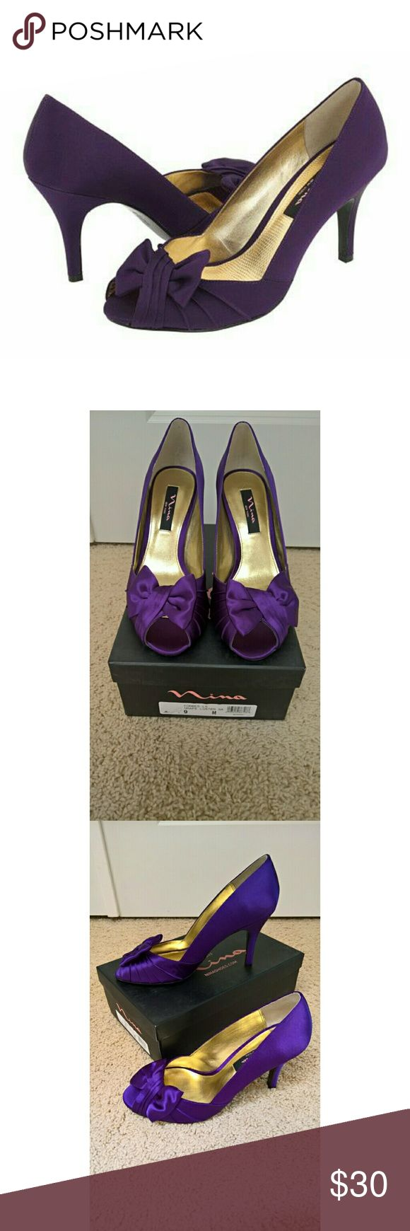 "NWT Nina Forbes Satin Pumps New with tags (never worn). The Forbes Peep-Toe Pump in Grape Luster gives femininity a new meaning. This is the perfect satin shoe for your next special occasion. Wear with an elegant wrap dress and your favorite necklace to make a statement of sheer elegance. Perfect For: Brides, Brides Maids, Guests, Formals & Proms. Features 3"" heel, satin bow, pleated vamp, satin upper and leather sole. Comes from a smoke-free and pet-free home. Nina Shoes Heels"