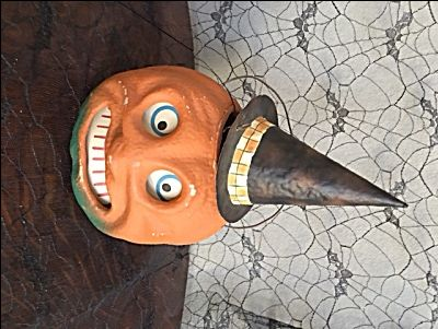 jack o lantern paper mache reproduction with hat vintage halloween decorationsjack