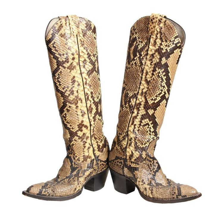 Tall Snakeskin Cowboy Boots from Larry Mahan | From a collection of rare vintage shoes at https://www.1stdibs.com/fashion/clothing/shoes/
