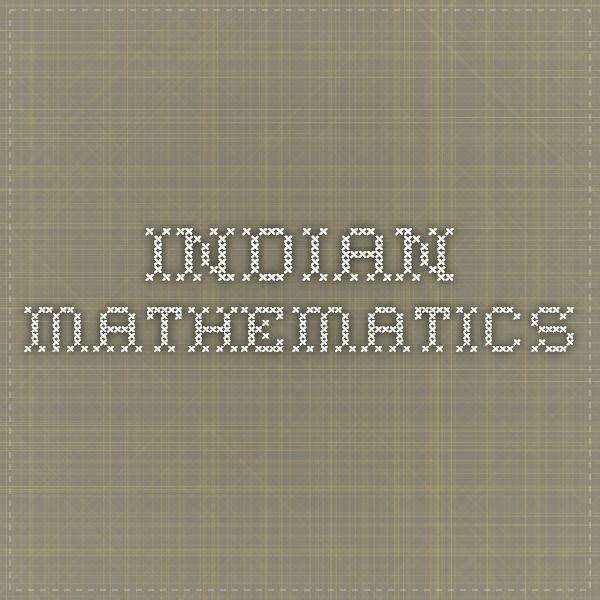 Indian mathematics Ancient India