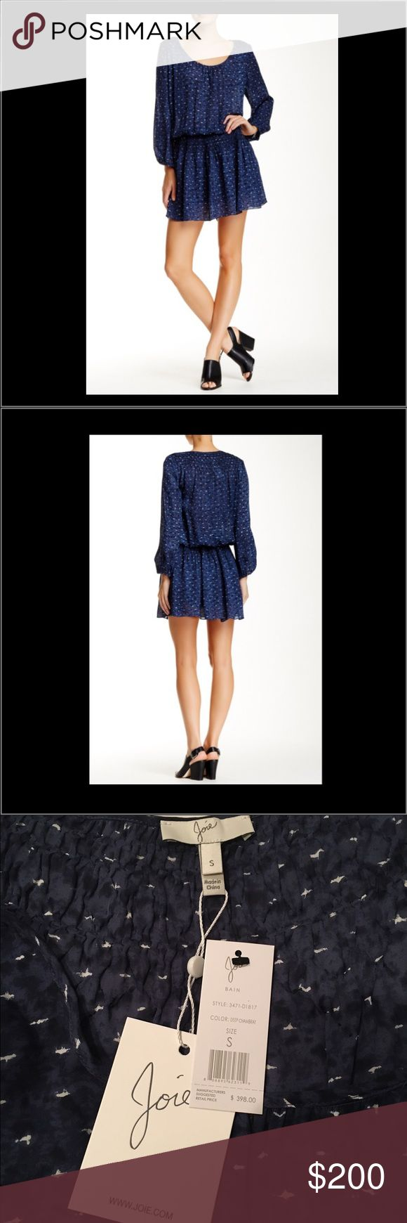 Joie Bain Dress Joie Bain dress in Chambray with sheer long sleeves and ruched waist. Joie Dresses Mini