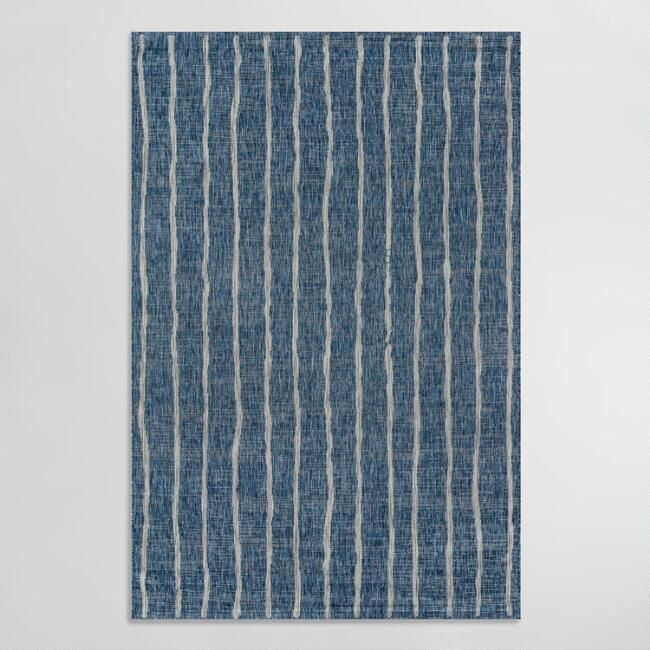 Blue And Ivory Stripe Parker Indoor Outdoor Rug In 2020 Outdoor Area Rugs Indoor Outdoor Rugs Outdoor Rugs Patio