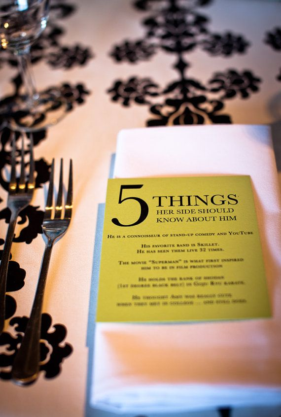 What a fun way to introduce your guests on either side of the family to the bride and groom
