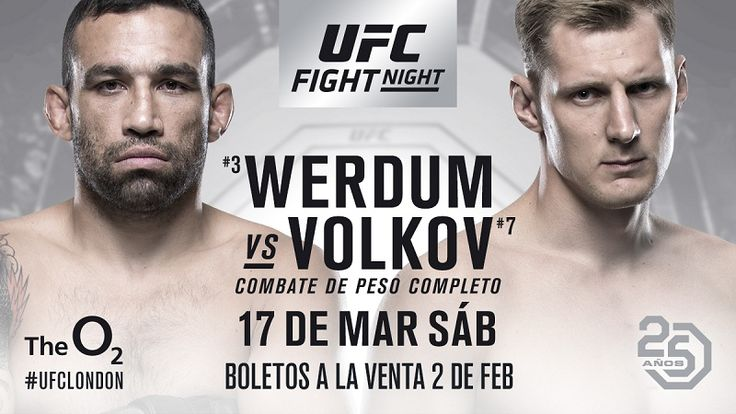Here are the full fight card and bout order for UFC Fight Night 127: Werdum vs. Volkov, which goes down on Saturday, March 17, 2018, at The O2 Arena in London, England.
