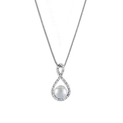 "Pendentif Argent Plaqué Rhodium, Perle et Cubic Zirconium (Cz), Style Createur ""Infini Et Perles"""