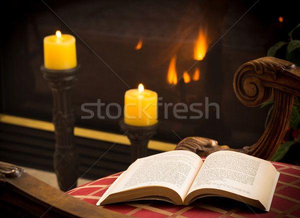 Stock fotó: Könyv · nyitva · szék · tűz · gyertya · hűvös