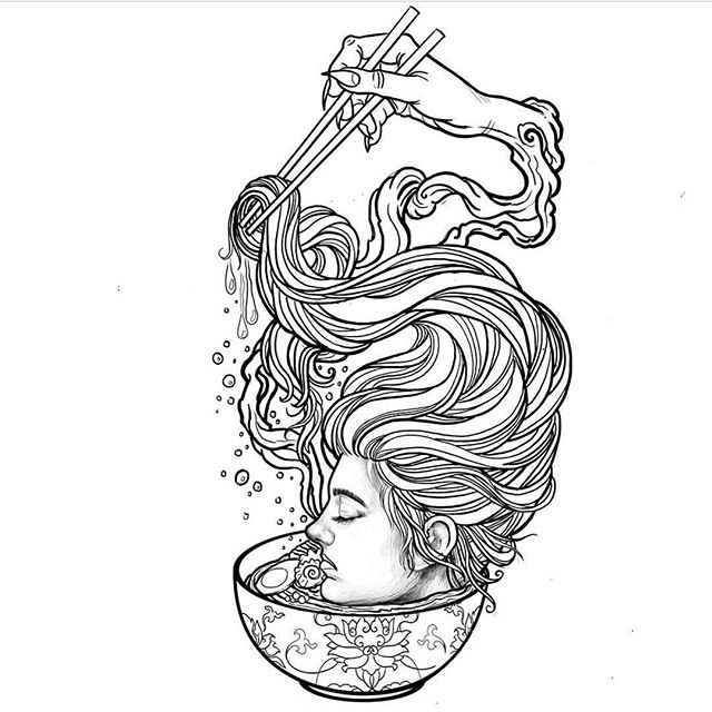 This design is available to tattoo! Email to: info@sacredtattoo.com #ramen #asian #ghost #girl #junjiito #inspired #noodles #alishagory
