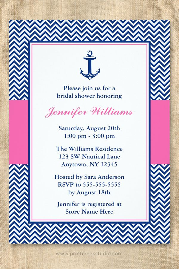 Modern nautical bridal shower invitations featuring navy blue and white chevron pattern, blue anchor and accents of pink. Preppy and cute!