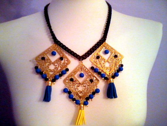 Fabulous Necklace with blue and yellow by KaterinakiJewelry