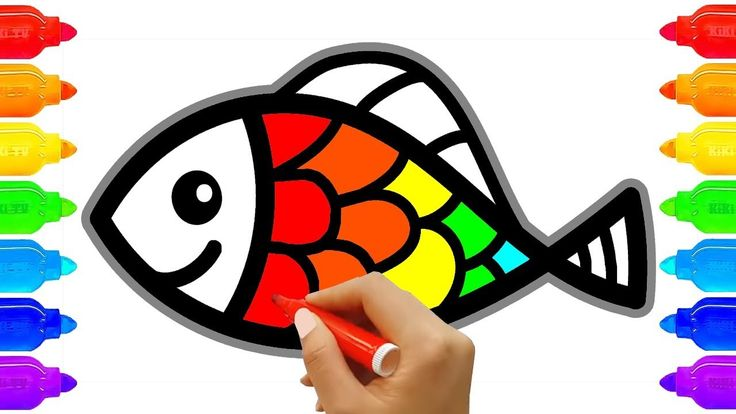 How to Draw Fish and Paint Coloring Fish for Kids   Art Colours for Kids