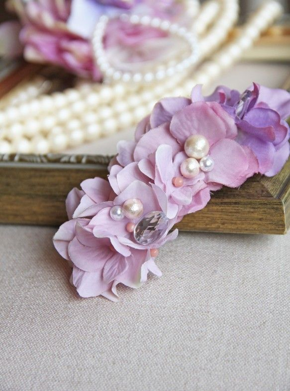 再販!【POPO】 スモーキーカラー―紫陽花― Barrette|バレッタ|ハンドメイド通販・販売のCreema