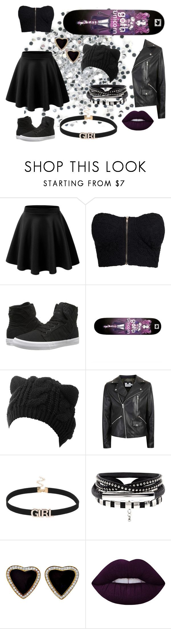 """""""goth skater"""" by pineapplefashion-ar ❤ liked on Polyvore featuring LE3NO, NLY Trend, Supra, Topman, Lime Crime, black, goth, skaterskirt, skateboard and gothunicorns"""