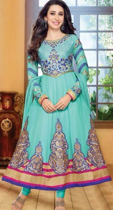 Karishma Kapoor In Wonderful Sky Blue Anarkali Salwar Kameez Suit.  #salwars #karishmakapoor