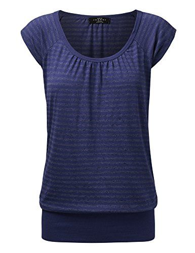Special Offer: $17.95 amazon.com We took a classic tee silhouette and gave it a subtle femme twist to create this elevated basic. Crafted from a super-stretchy knit, this short-sleeved top with shirring at the neckline and waistband. This tee has a sweet but relaxed fit.***BEWARE OF...