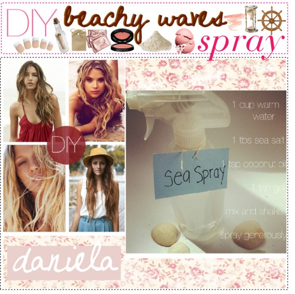 """DIY beachy waves spray ♥""Diy Beachy Waves Sprays, At Home, Beautiful Remedies, Beach Waves, Diy Fools, Hair Style, Polyvore, Amazing Hairstyles, The Roller Coasters"