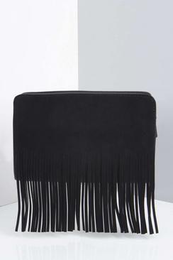 Faye Suedette Hand Strap Fringe Clutch Bag