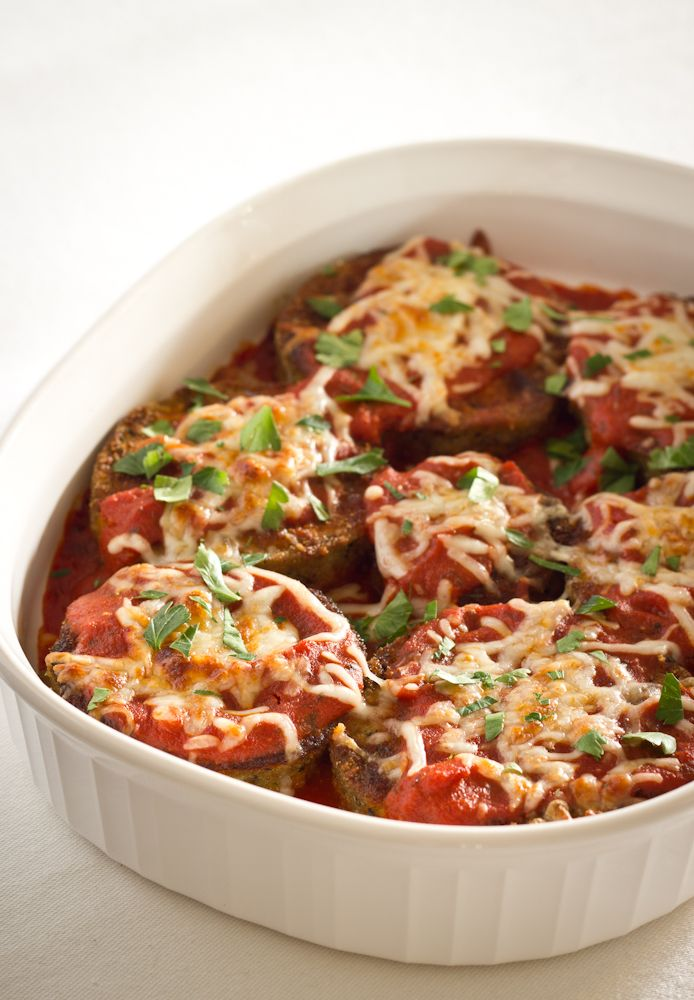 Oven-Baked Eggplant Parmesan with Fresh Basil - Click for Recipe