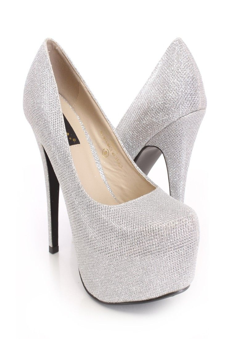 You will be head over heels for these saucy little numbers! They will perfectly compliment any outfit for any occasion! Make sure to add these to your collection, they definitely are a must have! The features include a glitter upper in a platform pump design, scoop vamp, stitched almond shaped closed toe, smooth lining, and cushioned footbed. Approximately 5 3/4 inch heels and 2 inch covered platforms.