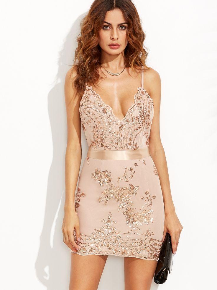 Sukienka mini beżowa cekinowa sexy