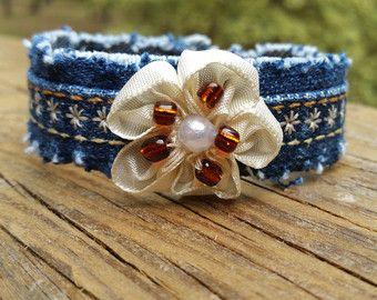 Cuff bracelet Denim lace pearls flowers heart. by Alessante