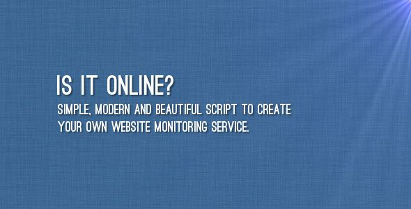 "Is It Online? . ""Is It Online?"" is a simple and beautiful script which allows to start your own website monitoring service. Users can sign up and create their list of links for monitoring. Script checks status of URLs periodically. If server responses are changed (or server is down), users is notified about that"