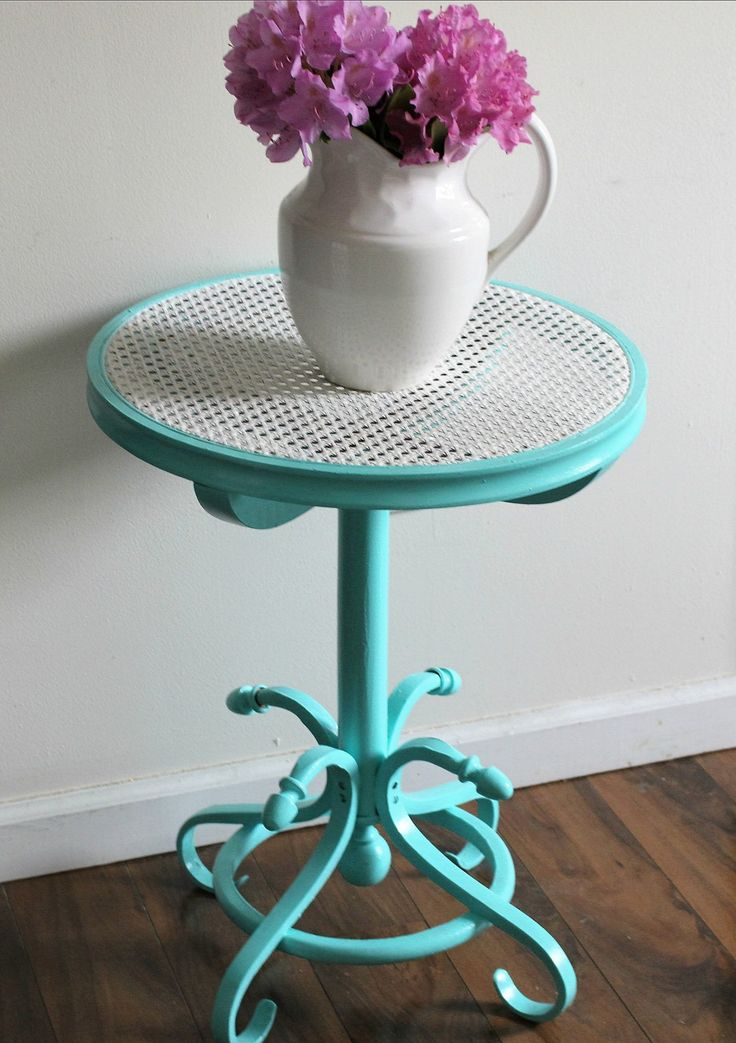 Thrift Store Cane Top Table Makeover In Gorgeous Aqua Our Crafty Mom. Hello and welcome to Our Crafty Mom! One of my favorite things to do on a day off...