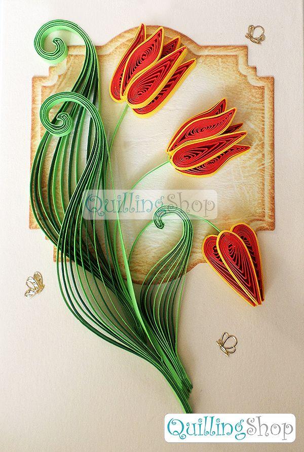 Квиллинг Quillingshop: Открытка Тюльпаны. Открытка малая с abuehyjq вырубкой