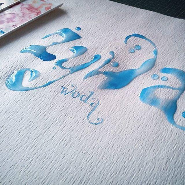 Moje poranne ćwiczenia z żywą wodą 🌊 i pismem odręcznym📝 #szkicownik #sketchbook #akwarela #aquarelle #watercolor #żywa woda #living water #letter handpainted #Art #typography