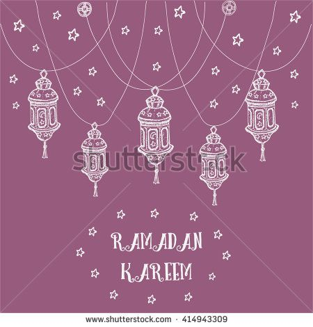 Greeting Card template design for muslim holiday RAMADAN KAREEM with stars and hand drawn lamp on violet  background. Vector illustration.