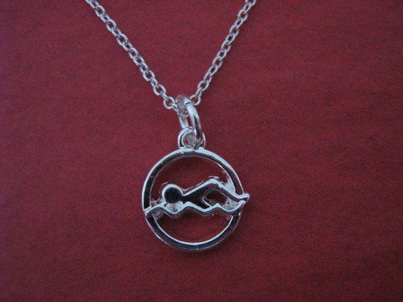 Swimming Necklace Swimmer Charm Swim Coach by Forgetmenotgrove