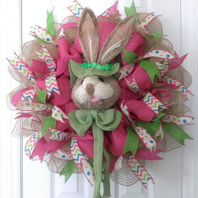 Easter bunny burlap mesh wreath! #buynow for $72 shipped on inselly.com