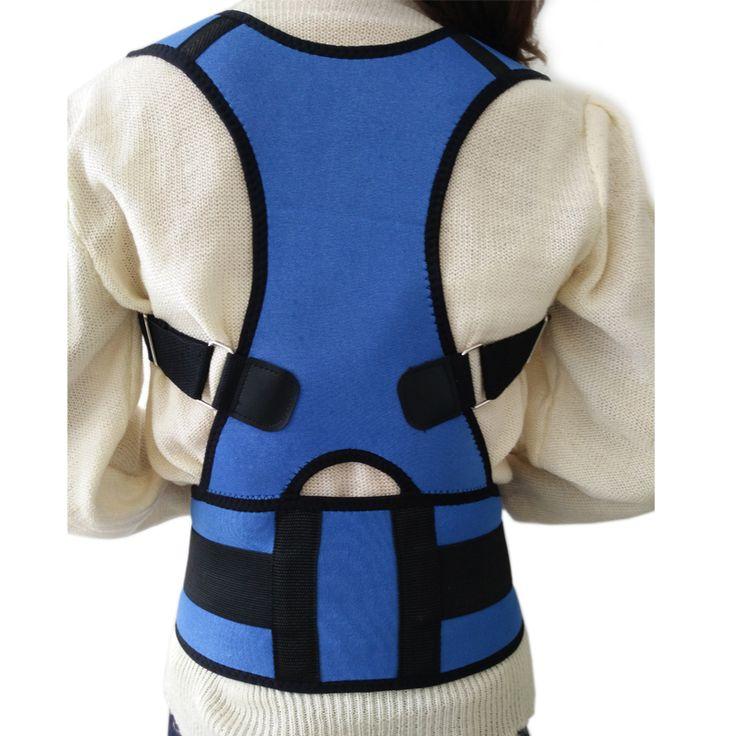Unisex Adjustable Back Posture Corrector Brace Back Shoulder Support Belt Posture Correction Belt for Men Women Blue S-XXL