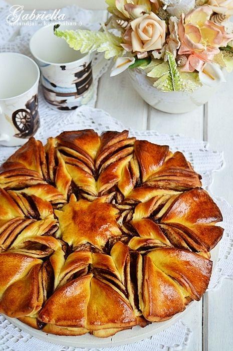 Gabriella kalandjai a konyhában :): Mogyorókrémes csillag kalács