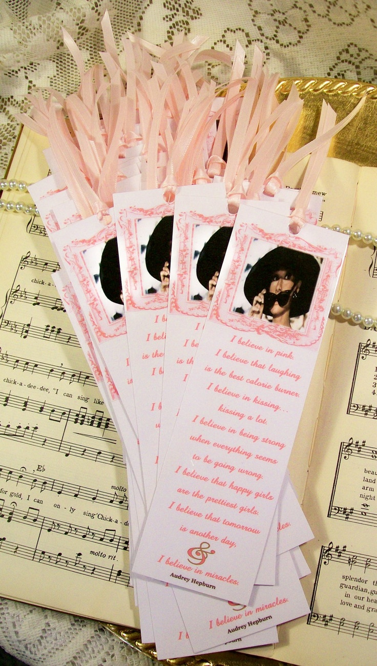 words to write in wedding shower card%0A Wedding Shower Favors Gifts Set of    Bookmarks Audrey Hepburn I Believe in  Pink
