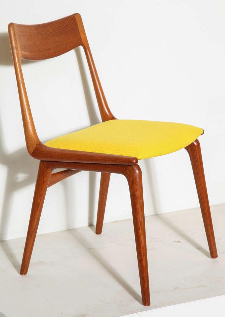 Set Of 4 Teak Yellow Boomerang Dining Chairs By Erik
