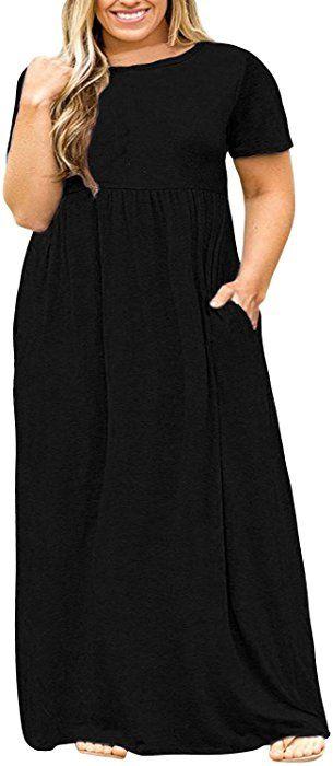af365435d0 Nemidor Women Short Sleeve Loose Plain Casual Plus Size Long Maxi Dress  with Pockets (Black