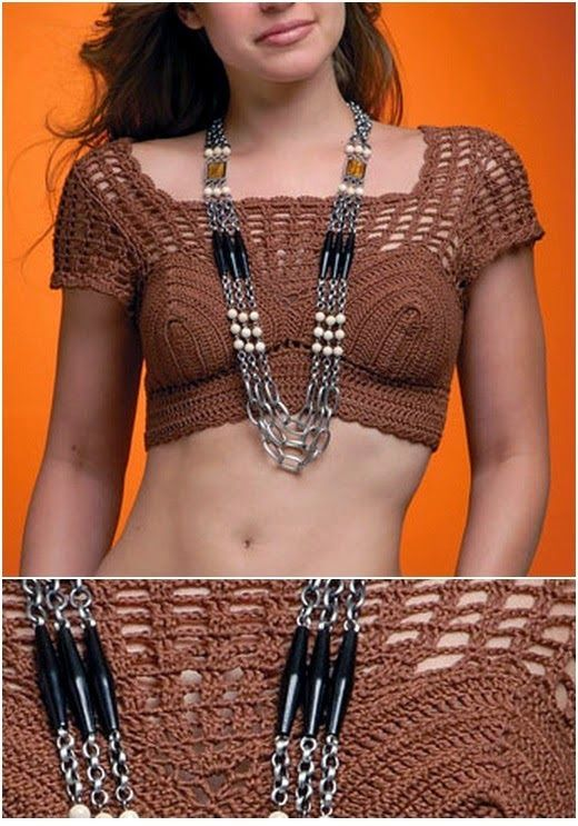 As Receitas de Crochê: Cropped em croche com mangas.