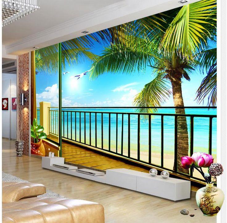 Дешевое Бесплатная доставка современные стены 3D фрески обои, HD балкон сцена 3D росписи для тв диван фоне стены papel де parede, Купить Качество Обои непосредственно из китайских фирмах-поставщиках:                                                     Примечание: