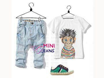 BS1166, @131k, Bahan : Spandek katun, jeans.  Warna : Putih.  Ket : Untuk anak usia sekitar  1 - 6 tahun. Pemesanan sms / wa 082328384495