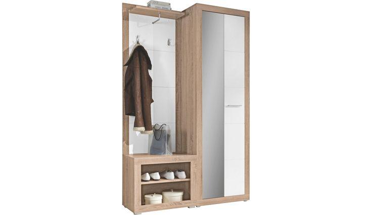 GARDEROBE Holzwerkstoff Sonoma Eiche, Weiß - Garderobensets - Garderobe - Produkte