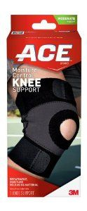 ACE Moisture Control Knee Support, Large by ACE. Save 45 Off!. $13.23. Dual precision straps for custom fit. High-performance design for active support. Unique combination of neoprene and polartec power stretch-RX materials keeps the knee warm and limber while releasing excess heat and moisture. Antimicrobial treatment inhibits growth of odor-causing bacteria on the support. Fits right or left knee. The ACE brand consists of outstanding elastic bandages, braces, supports, and col...
