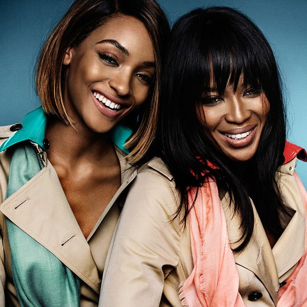 Naomi Campbell and Jourdan Dunn captured together in trench coats on the Spring/Summer 2015 campaign set