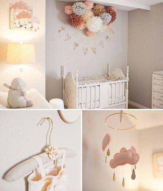 poms above bed: Wall Colors, Grey Colors, Grey Nurseries, Baby Girls, Baby Rooms, Girls Nurseries, Pink And Gray, Nurseries Ideas, Gray Nurseries