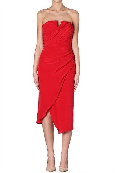 ROUGE SILK CDC ROSEBUD DRESS Neatly draped silk satin georgette wraps firmly around the bodice while flowing through to a fluid skirt with side split. The perfect edition to any cocktail collection.