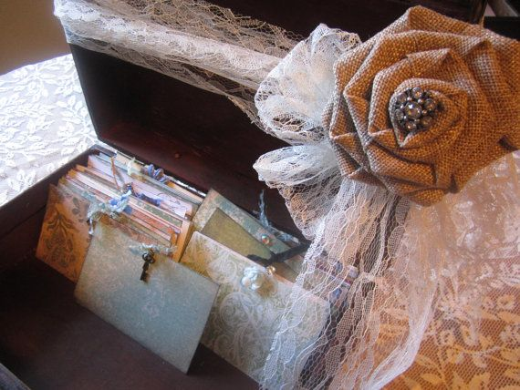 Rustic Burlap Lace Victorian Wedding Guest Book by trusted on Etsy, $129.00