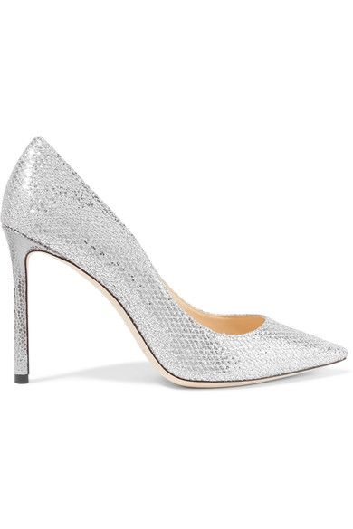 Jimmy Choo - Romy Glittered Snake-effect Leather Pumps - Silver