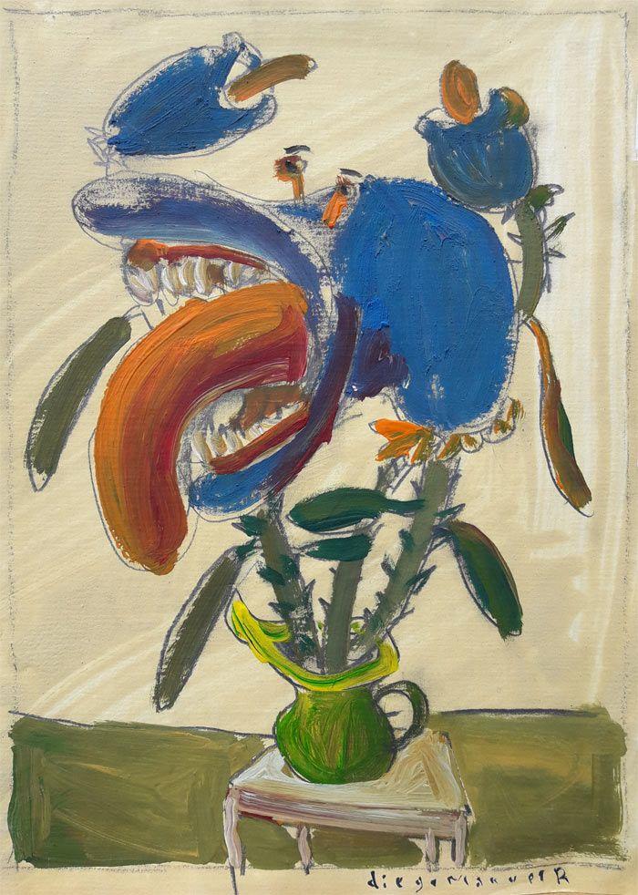 """""""Flor carnivora 2"""", gouache sobre papel, 20 x 26 cm. 2001"""