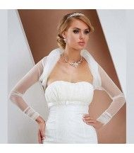 bolero de mariage en dentelle satin organza fourrurebroderie blanc ou - Bolero Mariage Blanc