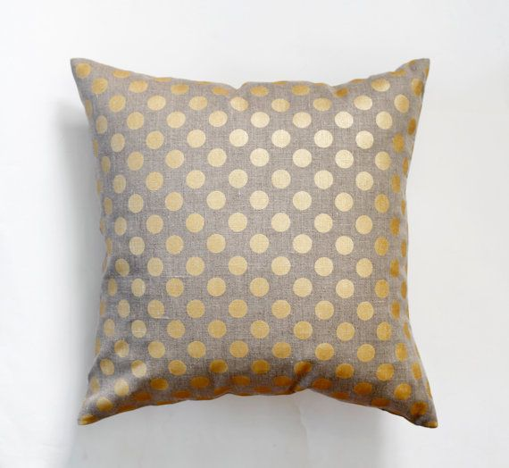 Linen gray pillow cover with gold print dots  by pillowlink, $25.00
